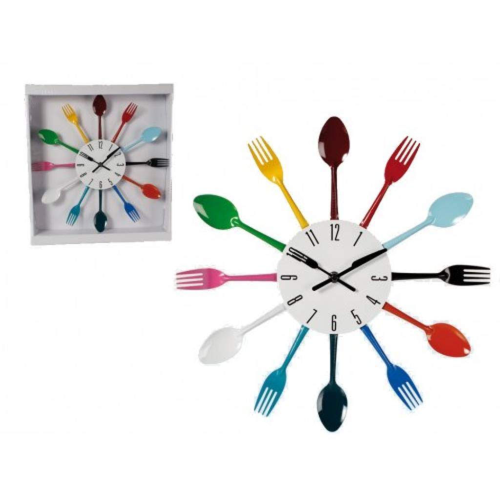 Reloj pared cubiertos de colores comprar precio al mayor - Reloj para pared ...