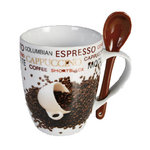 Coffee Bean Ceramic Mug with spoon
